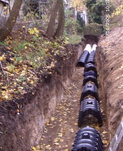 Erdarbeiten-Bau einer Regenwasser-Sickeranlage